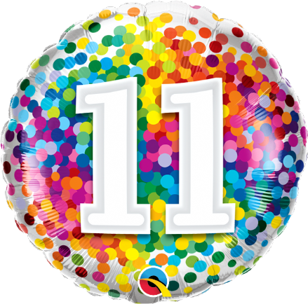 11th Birthday Colourful Dots Foil Balloon
